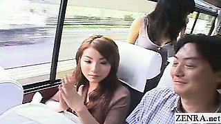 Subtitled Japanese AV star party bus lewd interviews
