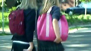 Schoolgirls in sexy short skirts