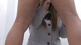 Lovely Japanese angel Aya Sakaki in schoolgirl uniform has