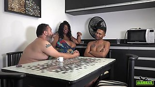 Brazilian woman with big boobs is about to get fucked from the back, until she cums