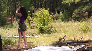Beautiful babe Kaliy is masturbating pussy outdoor
