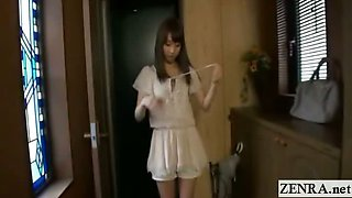 Subtitled POV ENF shy Japanese nudist maid striptease
