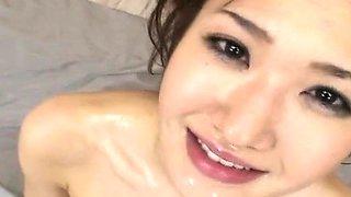 Subtitled Japanese semen covered heavy vibrator play