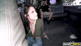 Torrid brunette with big ass has been picked for random wild sex in the car