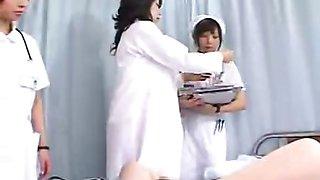Milf Japan doctor instructs nurses on proper handjob