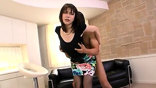 Pantyhosed Japanese lady teases and pleases a hard shaft