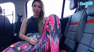 Sexy latina squirting on car