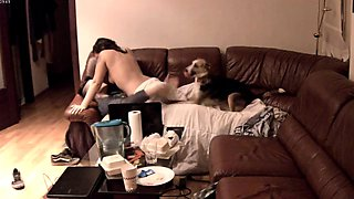 Horny young lovers engage in hot sex action on the couch