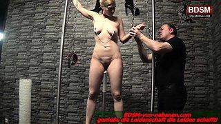 German bondage fetish BDSM session with blond amateur slave