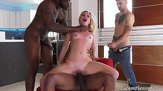 Dude is watching his GF fucked by several black guys