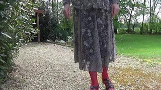 crossdresser tranny dildoing in outdoor lingerie 87