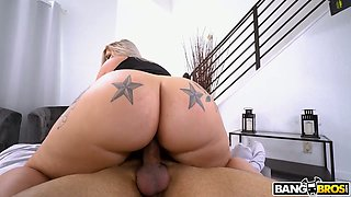 Stunning giant racked beauty Ashley Barbie blows boner dick in 69 position