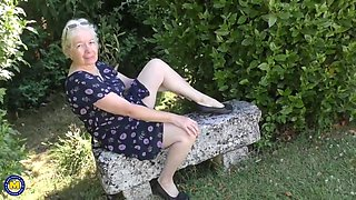 Horny granny, Caroline took off her dress and started masturating, in front of the camera