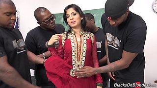 Enchanting brunette hottie gets gang  banged by beefy black studs