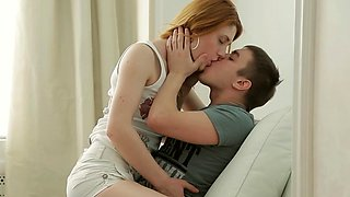 Passionate redhead cutie Sara C does a perfect blowjob