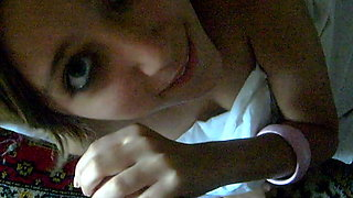 Petite Russian teen with perky titties blows a dick in POV