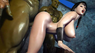 3D Hentai Two Orcs find some Sexy Milf in a basement cartoon
