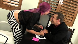Slut with big naturals gets fucked in the office