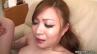 Juicy Japanese babe is riding a hard cock with enthusiasm like a fucking champ