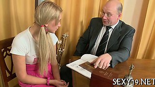 Teacher forcing himself on gorgeous chick