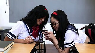Lucky professor fucking two hot Asian babes