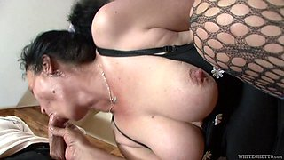 Ugly mature whore fucks a man that's younger than her and she's so nasty