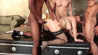 Five big peckers for a lustful blonde porno darling