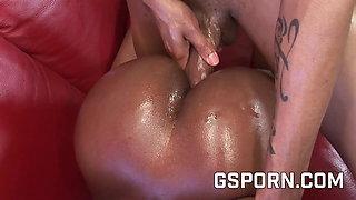 Hot ebony Megan Pryce fucking with oiled ass