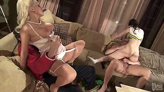 rough foursome sex with two smoking hot babes