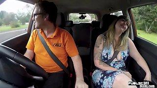 Busty british sucks off driving instructor in public