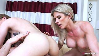 Lucky White Guy Fucking Cute Step Sister and Step Mom