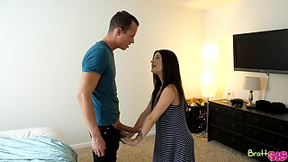 Horny Lacey Channing masturbates and gets fucked by a room-mate