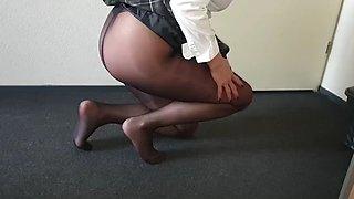 Schoolgirl alysha, upskirt flashing in pantyhose &amp heels