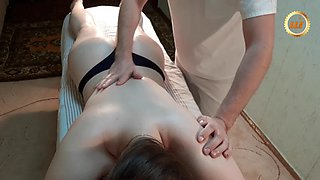 Giant basketball player girl gets full body massage. part 1