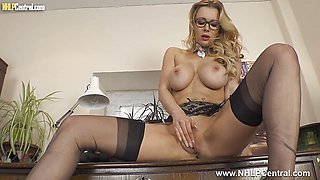 Big tits sexy secretary wanks in specs nylons heels