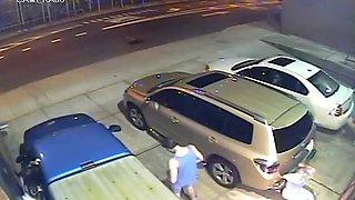 Shameless girl caught on surveillance camera peeing in public