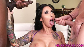 Interracial double penetration for insatiable tattooed whore Lily Lane