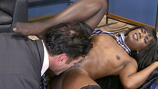 Man in elegant suit fucks black babe in the clothes shop