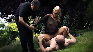 Slutty blonde gets pinned down, tied up and fucked in a
