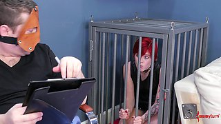 Redhead slave girl Ava Little abused and mouth fucked by a perv