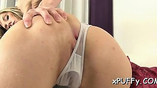 Adorable beauty is pounding her twat with hard dildo