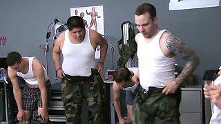 Cumlicking army milfs dominate new recruit