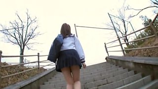 Sexy schoolgirl upskirt sitting on the park bench view