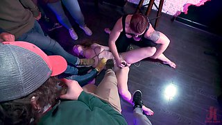 Mistress Kara and Ashley Lane fucking in an extreme bondage orgy