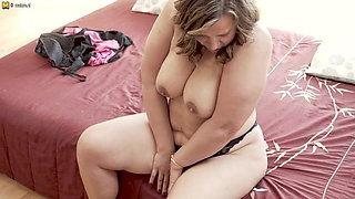 busty housewife gets her pussy all wet (what's her name?)
