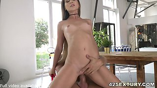 Petite Brunette Knows how to suck dick and pose for perfect anal insertion