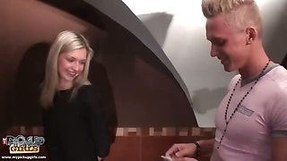 Hot blonde gets hot pickup fuck in toilet