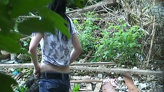 Careless girl caught pissing outside video