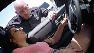 Cutie caught masturbating in her car fucks the horny cop
