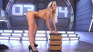 Unreal blonde beauty anal fucks machine